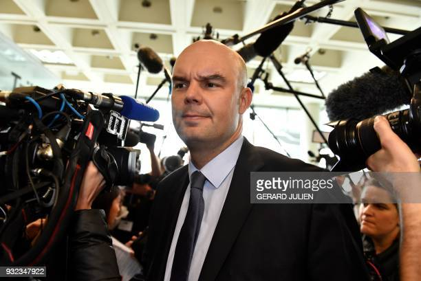 Lawyers for Laura Smet Emmanuel Ravanas arrives at a courtroom in Nanterre on March 15 where the two older children of iconic French musician Johnny...
