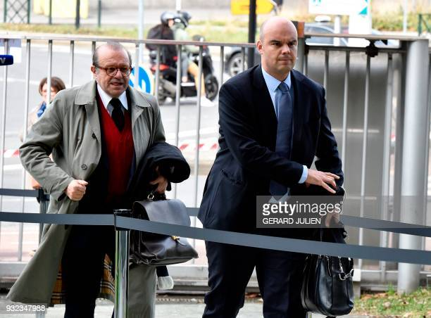 Lawyers for Laura Smet Herve Temime and Emmanuel Ravanas arrive at a courtroom in Nanterre on March 15 where the two older children of iconic French...