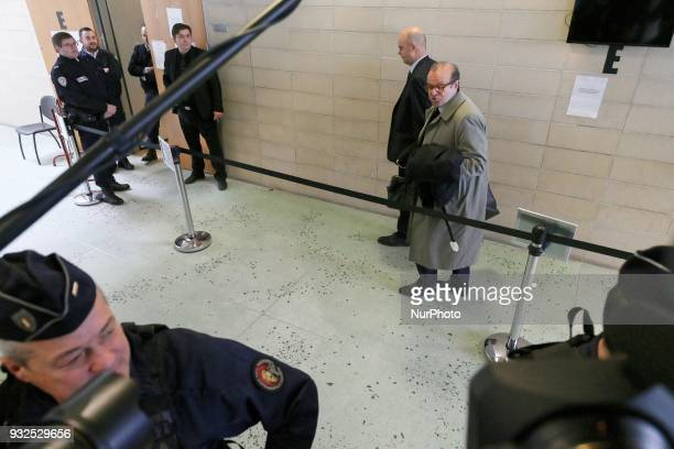 Lawyers for Laura Smet Herve Temime and Emmanuel Ravanas arrive at the entrance of a courtroom in Nanterre on March 15 where the two older children...