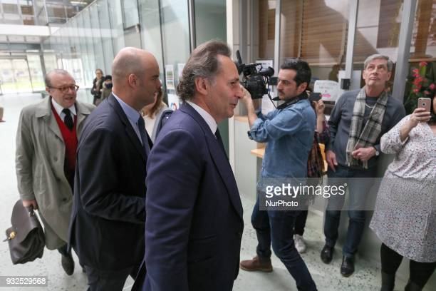 Lawyers for Laura Smet Herve Temime Emmanuel Ravanas and PierreOlivier Sur arrive at a courtroom in Nanterre on March 15 where the two older children...