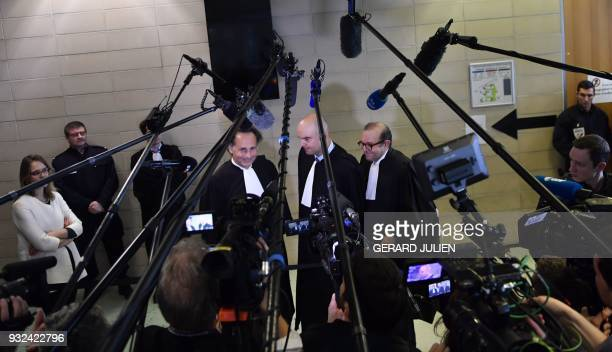 Lawyers for Laura Smet PierreOlivier Sur Emmanuel Ravanas and Herve Temime talk to journalists at the Nanterre Regional Court in Nanterre near Paris...