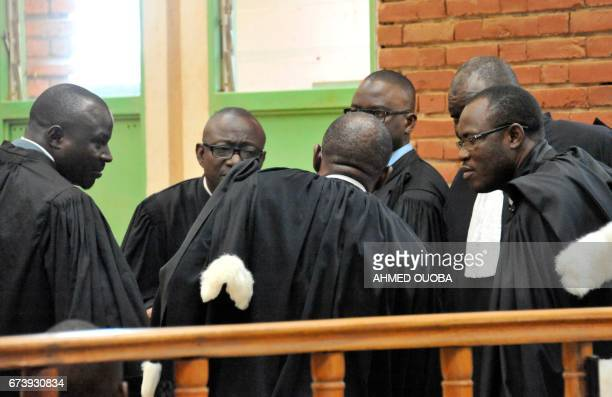 Lawyers gather for the opening session of the trial of the former president of Burkina Faso and members of his last government on April 27 2017 at...