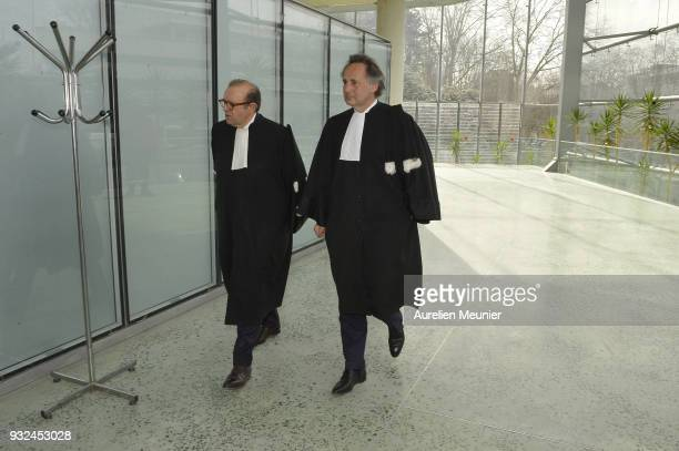 Lawyers Herve Temime and Pierre Olivier Sur representing Laura Smet arrive at the courthouse for the Johnny Hallyday hearing commencing today at...