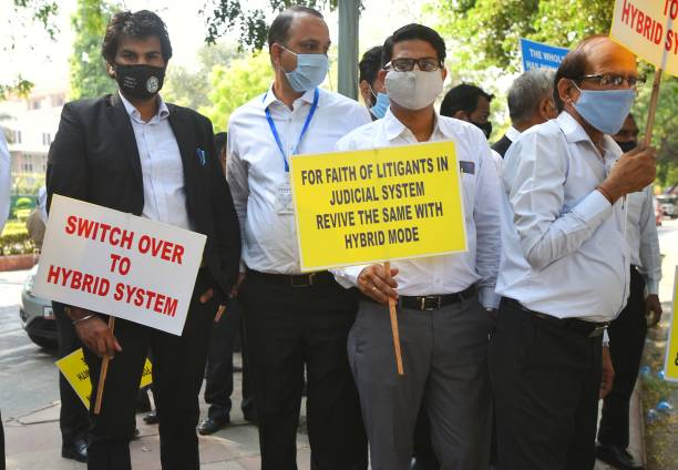 IND: Lawyers Protest Against Ongoing Virtual Hearing Of Cases During A Protest Outside Delhi High Court