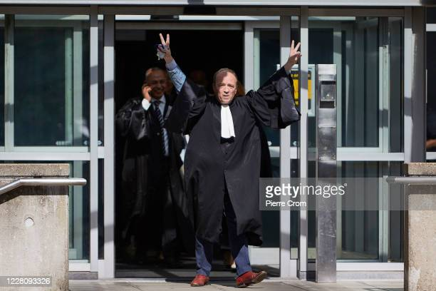 Lawyers leave the Lebanon Tribunal on August 18, 2020 in The Hague, Netherlands. The Special Tribunal for Lebanon delivered a guilty verdict against...