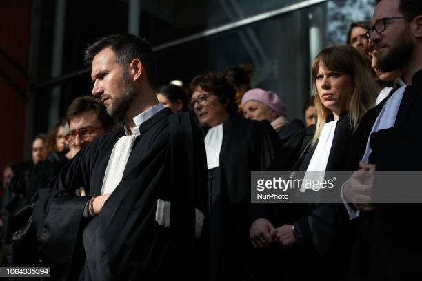 Lawyers listen to a discourse of one their unionist Lawyers counsels and magistrates gathered in front of the Toulouse' courthouse for a day called...