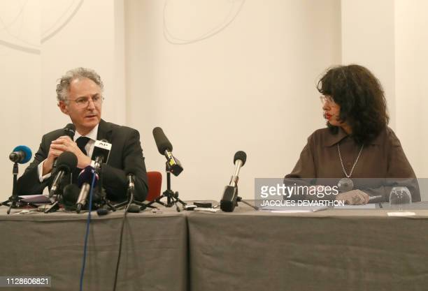 Lawyers of Carlos Ghosn's family François Zimeray and Jessica Finelle give a press conference on March 4 2019 in Paris announcing that they will...