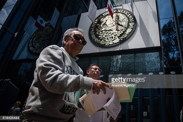 """Lawyers of Joaquin """"El Chapo"""" Guzman, drug lord, present to the Attorney General's Office a complaint against Miguel Angel Osorio Chong, Minister of..."""