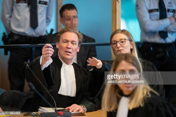 Lawyers pictured during the jury composition for the assize trial of five accused for the robbery homicide on Leopoldine De Decker in 2013 before the...