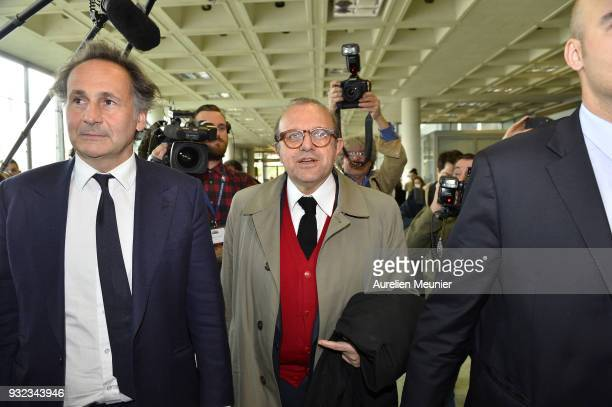 Lawyers Pierre Olivier Sur and Herve Temime representing Laura Smet arrive to the courthouse for the Johnny Hallyday hearing commencing today at...