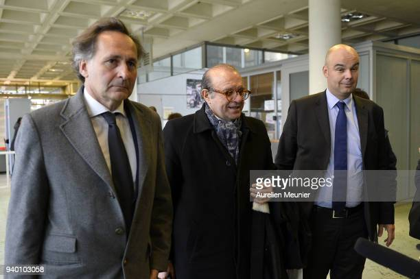 Lawyers Pierre Olivier Sur Herve Temime and Emmanuel Ravanas representing Laura Smet arrive to the courthouse for the Johnny Hallyday hearing today...