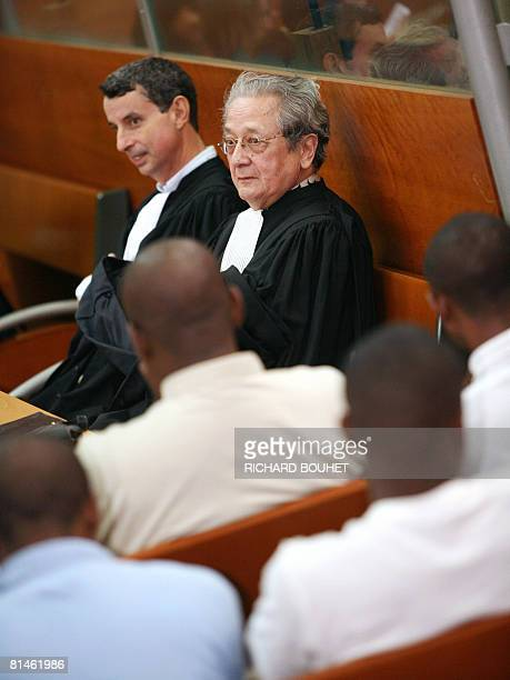 Lawyers Pierre Verges and Remy Boniface representing the Union of Comoros are seen close to ousted Anjouan leader Mohamed Bacar on June 5 2008 at the...