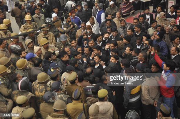 Lawyers protested an early morning crackdown by police and administrative officials who got removed the statue of Dalit icon Dr BR Ambedkar which was...