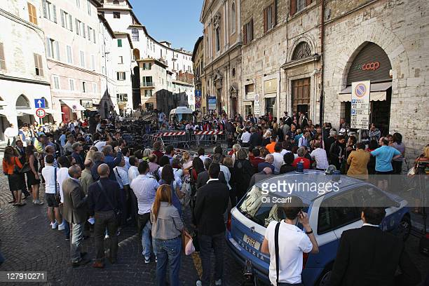 Lawyers read statements to the media and public outside Perugia's Court of Appeal prior to the verdict in the appeal of Amanda Knox and Raffaele...