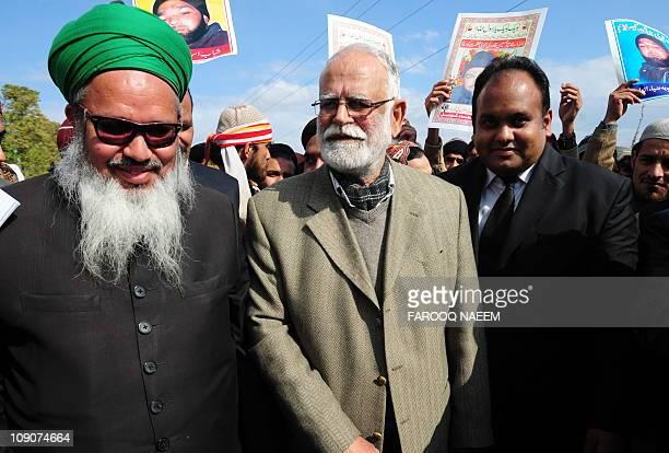Lawyers representing Malik Mumtaz Hussain Qadri, the self confessed assasin of murder of leading liberal politician Salman Taseer, Tariq Dhamyal...