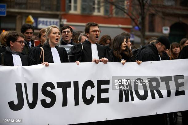 Lawyers shout slogans Lawyers counsels and magistrates gathered in front of the Toulouse' courthouse for a day called 'Dead Justice Day' in protest...