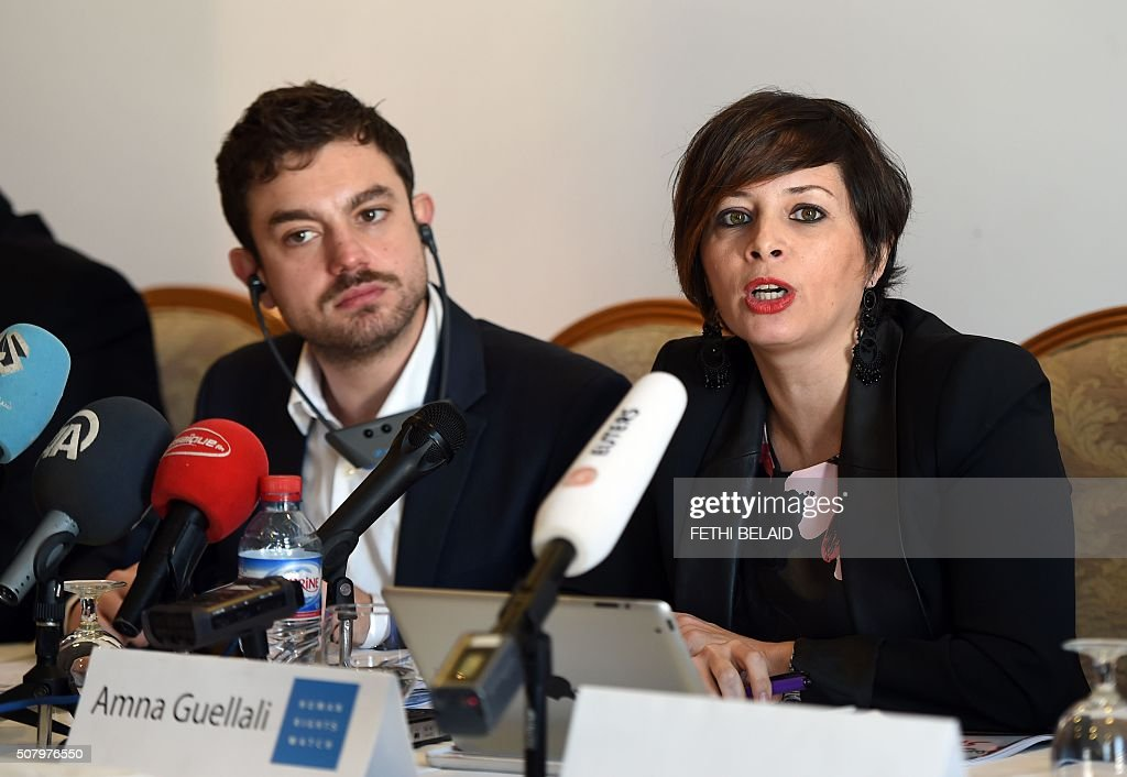 Lawyers Without Borders' chief of mission in Tunisia, Antonio Manganella (L) and Human Rights Watch's director in Tunisia, Amna Guellali give a press conference on February 2, 2016 in Tunis to present a 33-page document about the country's draconian drug law. Tunisia must stop widespread abuses under its draconian drug use law by drafting new legislation to eliminate prison sentences for recreational drug use or possession, Human Rights Watch said. The controversial 'Law 52', passed under toppled dictator Zine El Abidine Ben Ali, lays down harsh jail sentences for drugs use, in most cases cannabis resin, or 'zatla' as it is known in Tunisia. BELAID