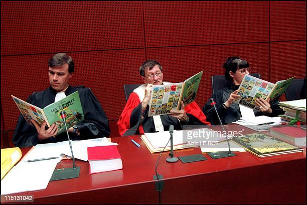 Lawyers without Borders' holds mock trial of General Alcazar the dictator of two Tintin adventures in Nantes France on November 23 2001