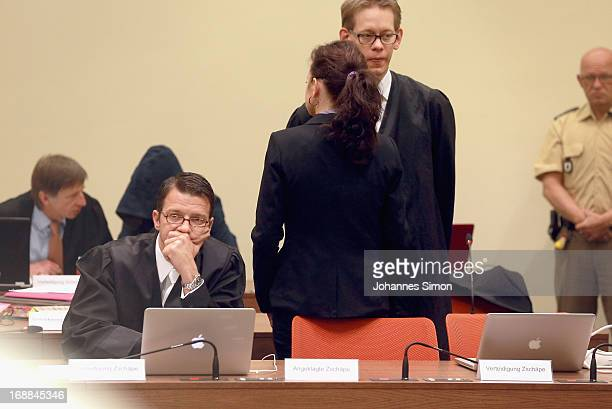 Lawyers Wolfgang Heer and Wolfgang Stahl wait with their client Beate Zschaepe in the courtroom in the courtroom on day four of the NSU neoNazis...