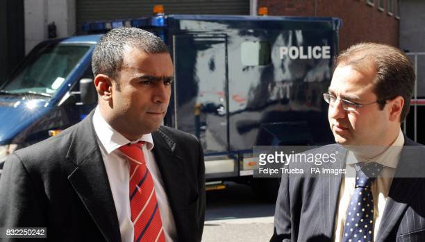Lawyers Zahir Ahmed and Tim Rustem representing Mehran and Umar Hussein speak to the press outside Horseferry Magistrates Court