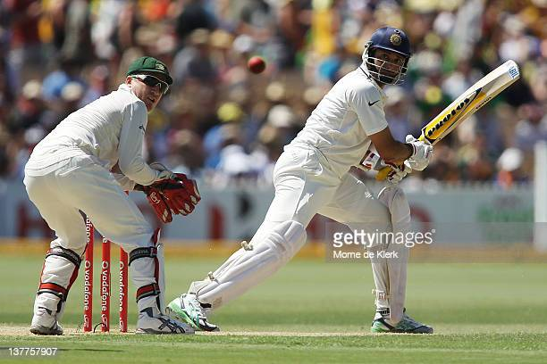 Laxman of India bats as Brad Haddin of Australia keeps wicket during day three of the Fourth Test Match between Australia and India at Adelaide Oval...