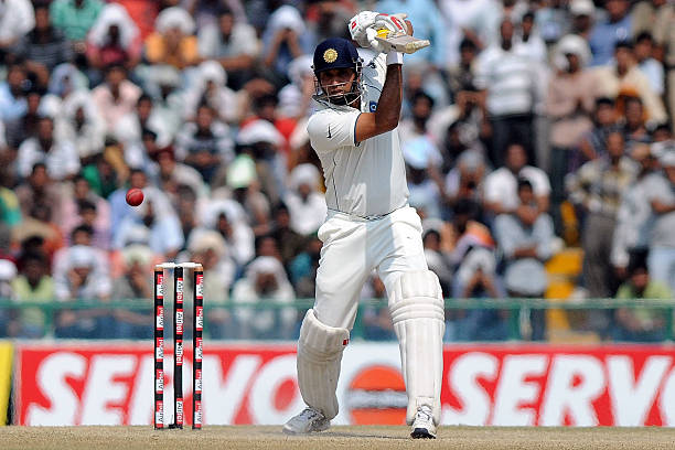 Laxman of India bats during day five of the First Test match between India and Australia at Punjab Cricket Association Stadium on October 5 2010 in...