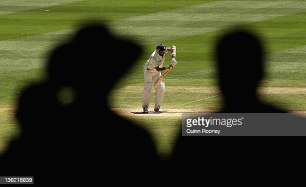 Laxman of India bats during day four of the First Test match between Australia and India at the Melbourne Cricket Ground on December 29 2011 in...