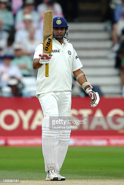 Laxman of India celebrates scoring his half century during the second npower Test match between England and India at Trent Bridge on July 30 2011 in...