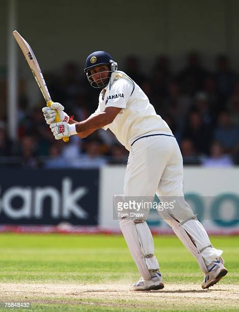 Laxman of India hits out during day three of the Second Test match between England and India at Trent Bridge on July 29, 2007 in Nottingham, England.