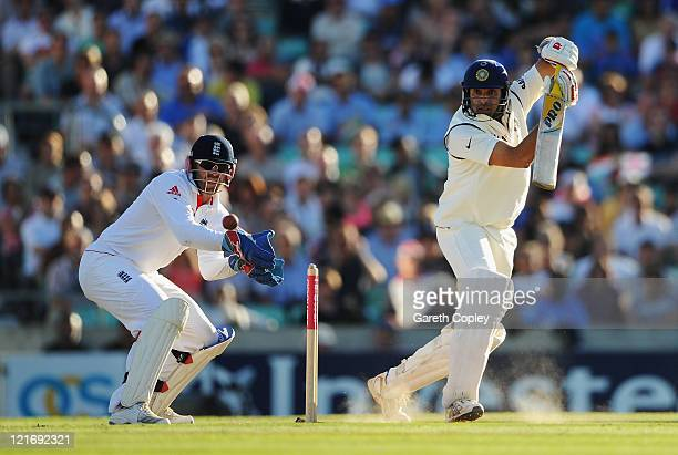 Laxman of India hits out watched by wicketkeeper Matt Prior of England during day four of the 4th npower Test Match between England and India at The...