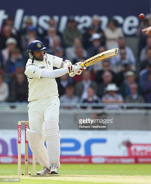 Laxman of India hooks the ball away and is caught out during day one of the 3rd npower Test at Edgbaston on August 10 2011 in Birmingham England