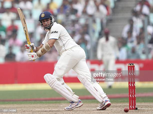 Laxman of India playing a shot during the second day of second Test Match between India and West Indies at Eden Gardens Stadium on November 15 2011...