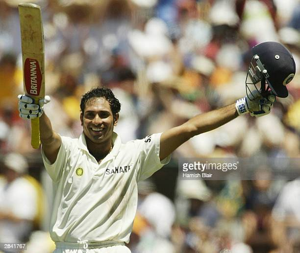 Laxman of India reaches his century during day two of the 4th Test between Australia and India at the SCG on January 3 2004 in Sydney Australia