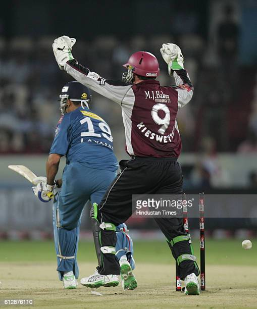 Laxman of the Deccan Chargers looks on after being bowled by Peter Trego of Somerset during the Airtel Champions League Twenty20 Group A match...