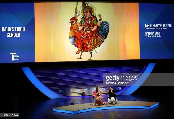 Laxmi Narayan Tripathi and Barkha Dutt speak on stage at the 8th Annual Women In The World Summit at Lincoln Center for the Performing Arts on April...