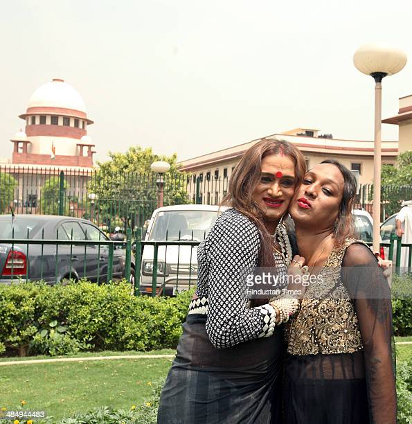 Laxmi Narayan Tripathi of Asia Pacific Transgender Network and other members are elated after the Supreme Court verdict in which it granted...