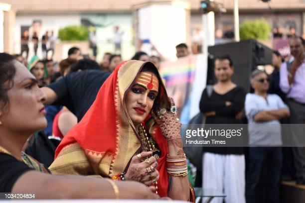 Laxmi Narayan Tripathi transgender rights activist Hindi film actor and Bharatanatyam dancer during the 7th edition of Hijra Habba a gathering of...