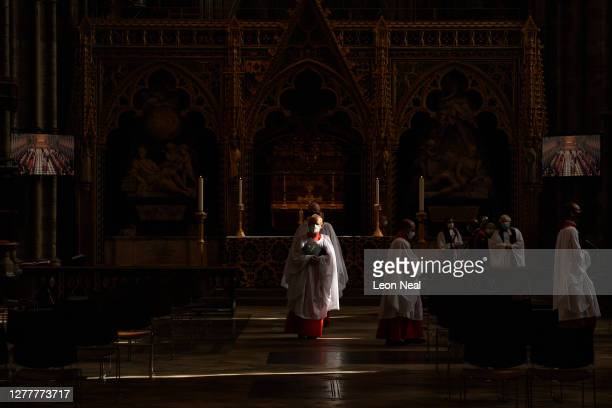 Lay Vicars process through the Abbey following the annual Judges Service at Westminster Abbey on October 01 2020 in London England Senior members of...