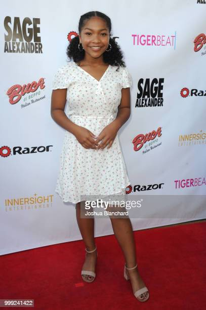 Laya DeLeon Hayes attends 'Sage Alexander The Dark Realm' Launch Party Cohosted by Innersight Entertainment and TigerBeat Media at El Rey Theatre on...