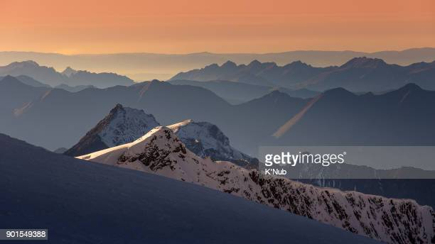Layer of Alps mountain at sunset time, view from Jungfrau, Lauterbrunnen, Europe, Switzerland