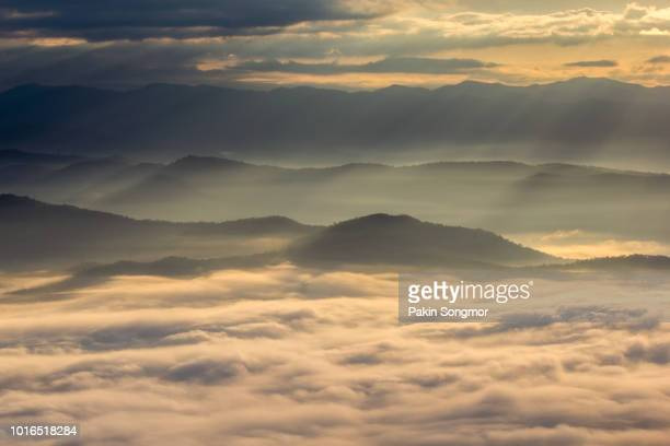 Layer of mountains in the mist at Doi Samer Dao