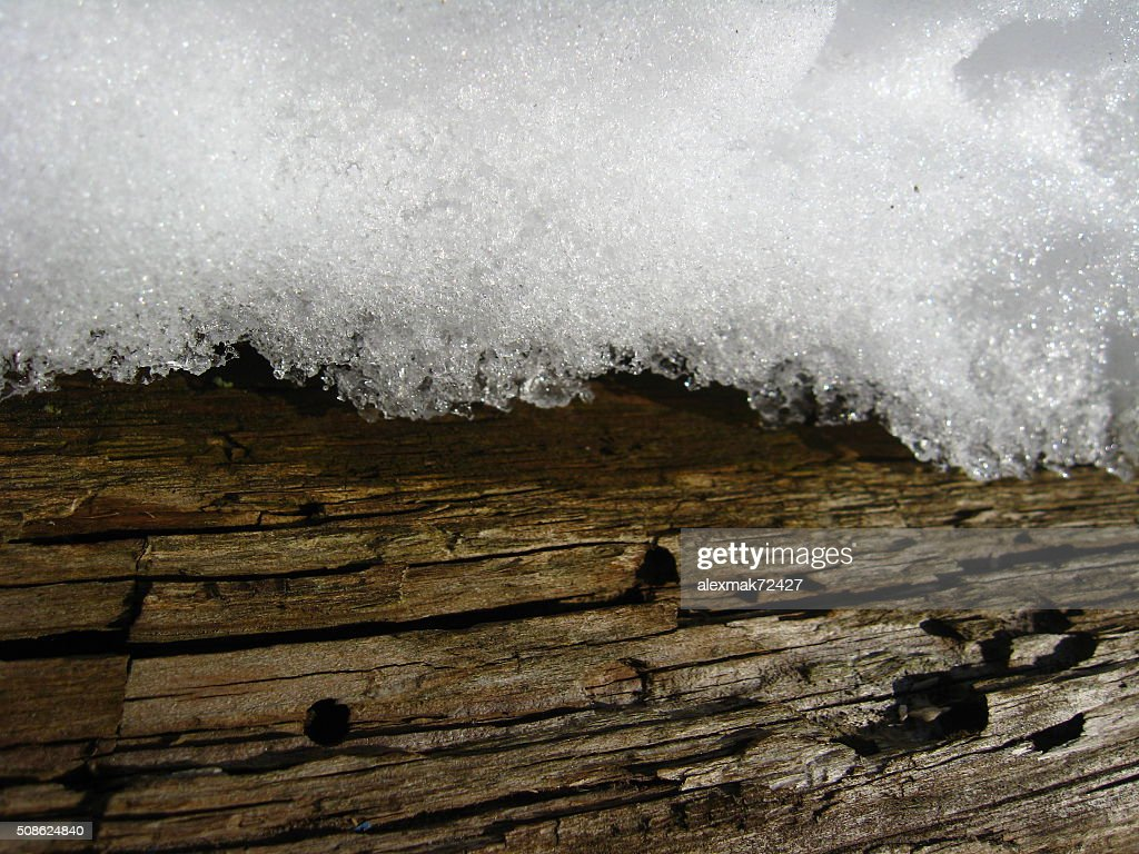 Layer of snow on a wood : Stock Photo
