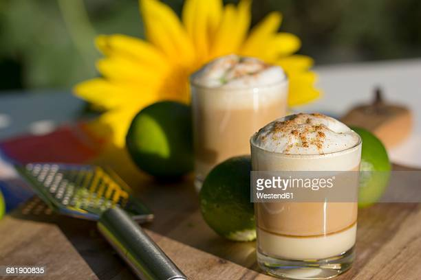 Layered coffee, condensed milk, liqueur, espresso and milk froth