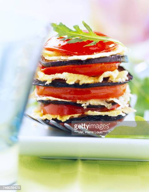 Layered crunchy tomatoes and aubergines