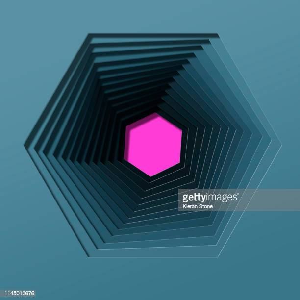layered cut out graphic hexagon well - cross section stock pictures, royalty-free photos & images