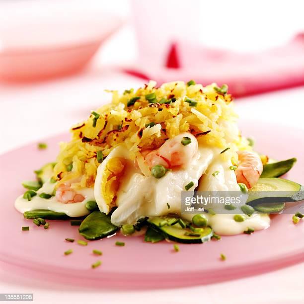 Layered fish pie with prawns & egg
