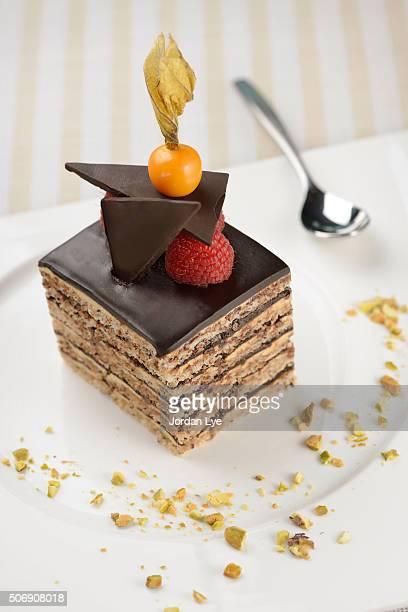 Layered opera chocolate cream cake