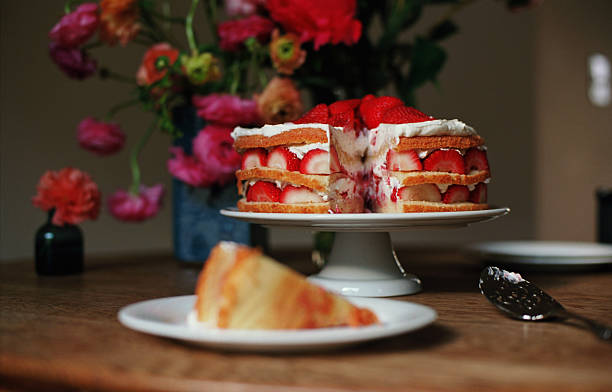 Layered Strawberry Cake With Background Flowers Wall Art