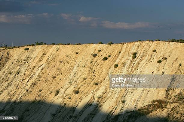 Layers of earthquaketilted ground are seen where the 14 freeway crosses the San Andreas Fault on June 28 2006 near Palmdale California Scientists are...