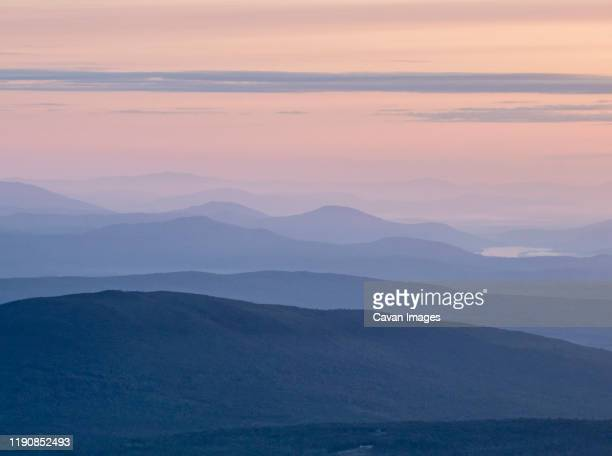 layers of mountains recede into the distance at sunset, maine - appalachian trail stock pictures, royalty-free photos & images